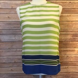 Rose & Olive striped sleeveless blouse